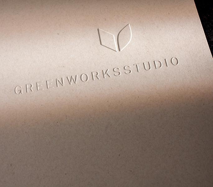 Greenworks studio Embossed Identity