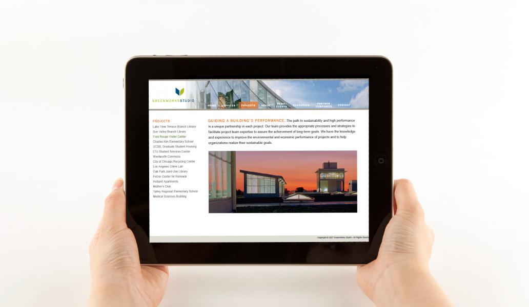 Greenworks studios website on a tablet