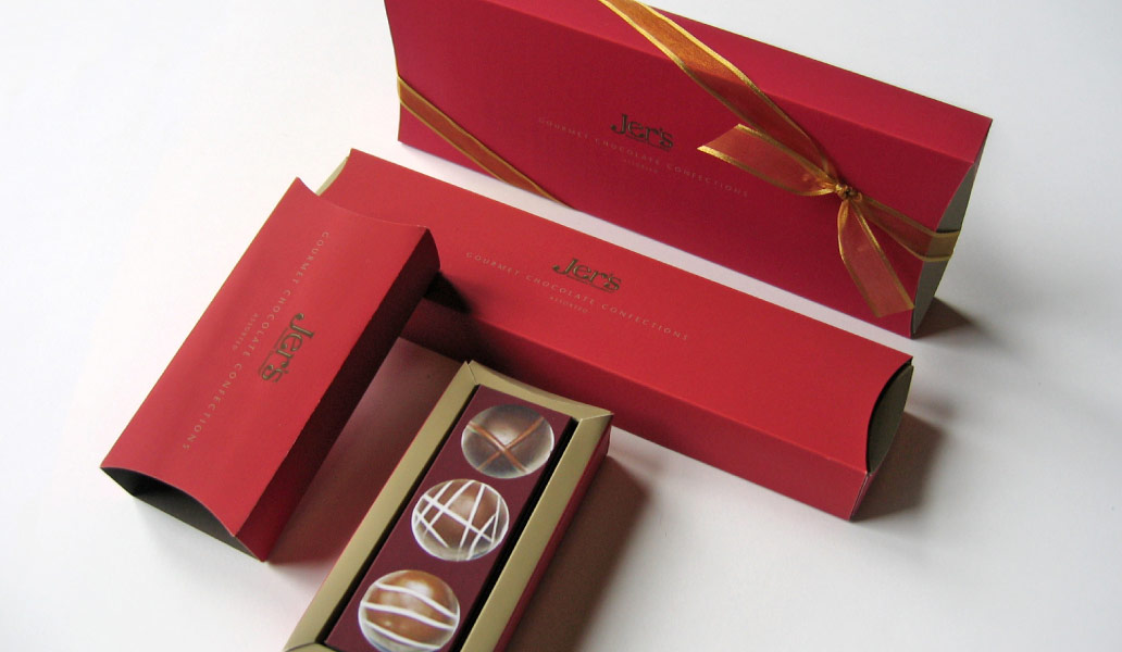 Jer's Handmade Chocolates Red boxes