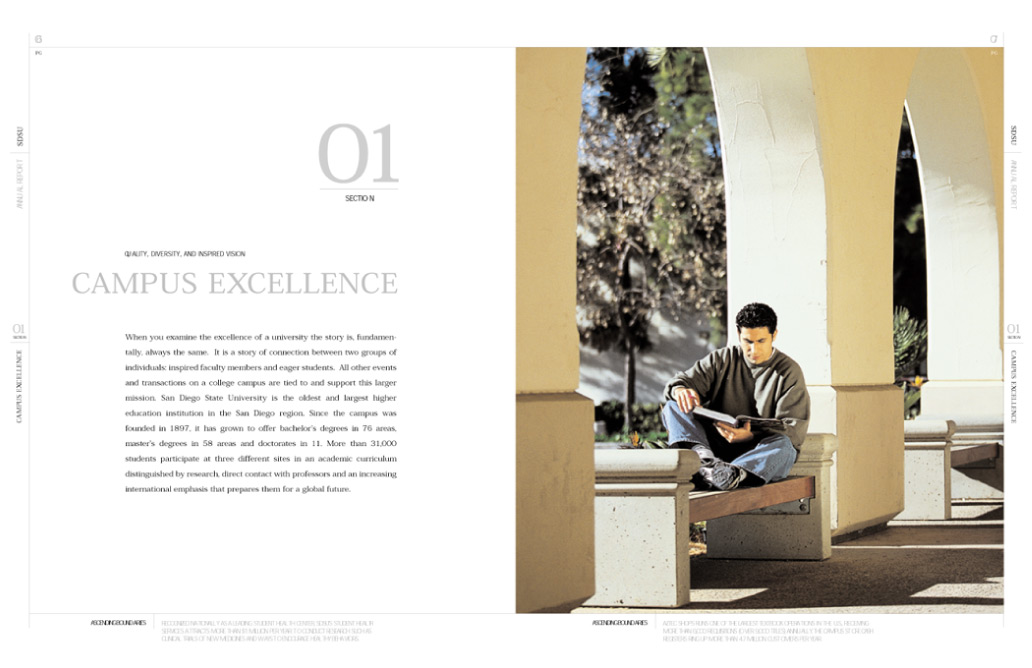 SDSU photgraph of student reading on campus