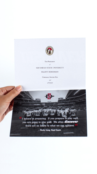 SDSU aztecs event invitation inside view