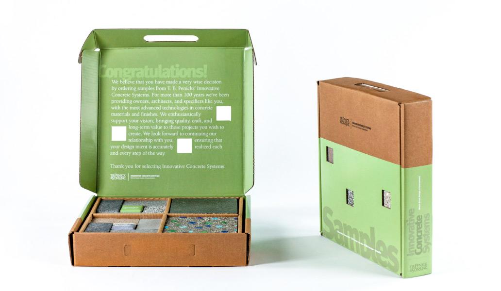 T.B. Penick & Sons material samples box design