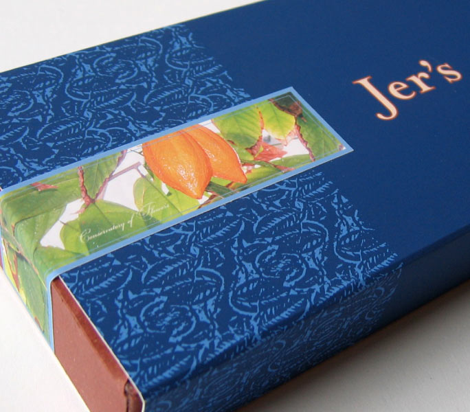 Jer's Handmade Chocolates box design detail