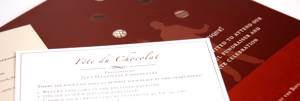 Jer's Handmade Chocolates Invitations Detail