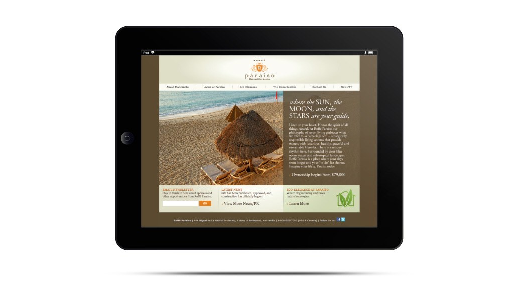 Roffee Paraiso website on a Tablet