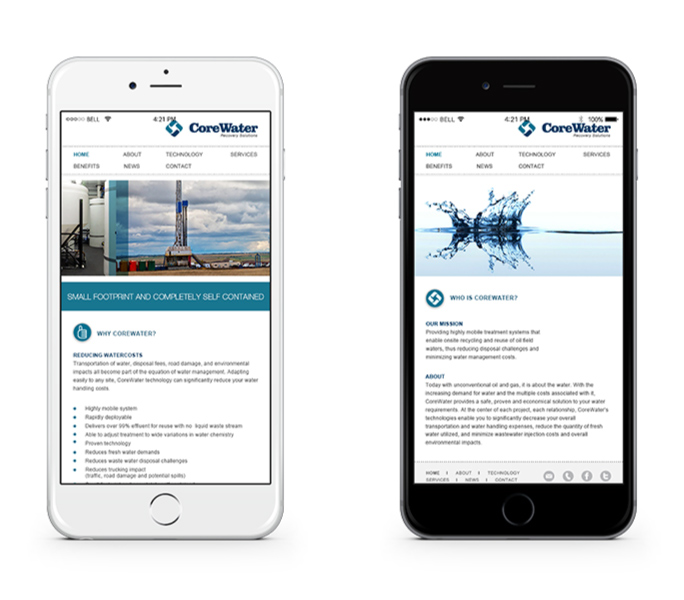 CoreWater website on Mobile device
