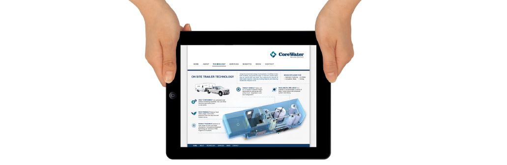 CoreWater website on a Tablet