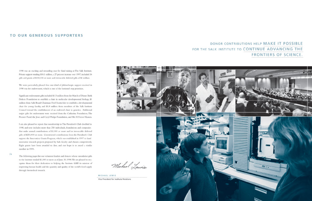 Salk institute Generous Supporters page in brochure